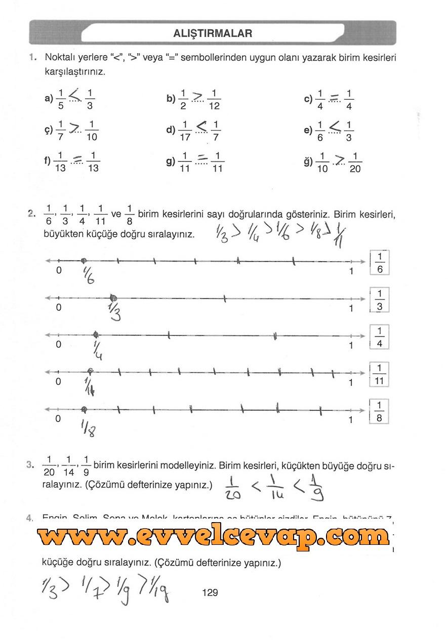 4 Sınıf Matematik Ata Yayınları Ders Kitabı Cevapları Sayfa 129