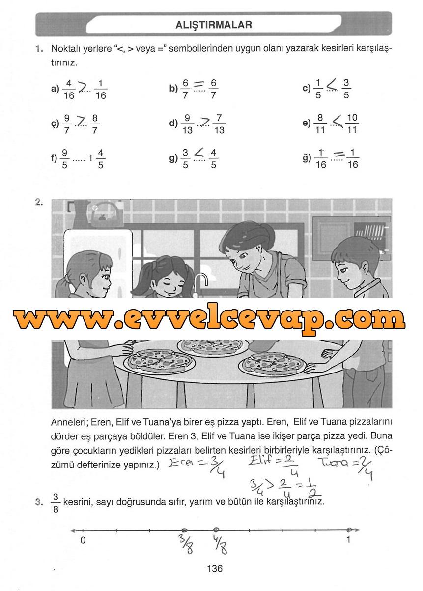4 Sınıf Matematik Ata Yayınları Ders Kitabı Cevapları Sayfa 136