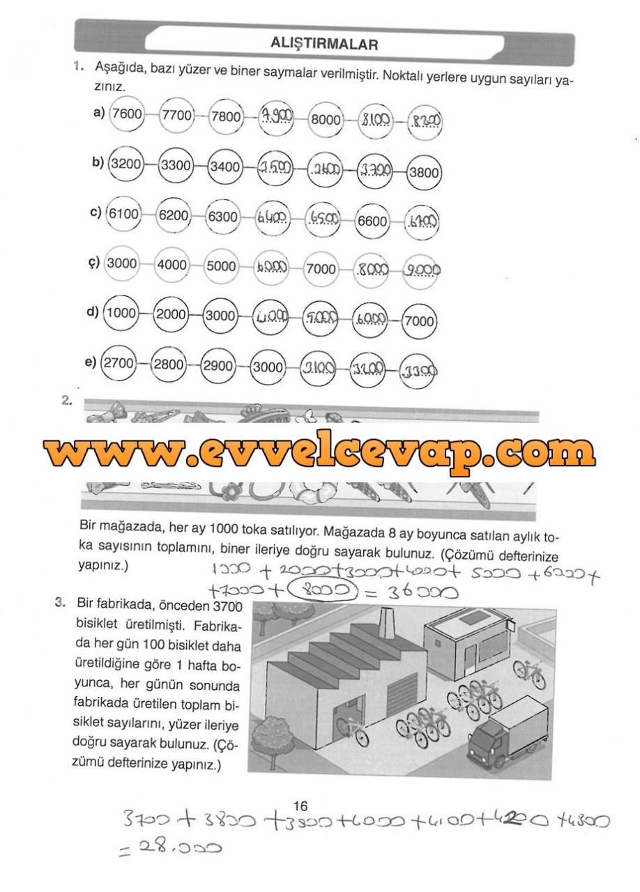 4 Sınıf Matematik Ata Yayınları Ders Kitabı Cevapları Sayfa 16