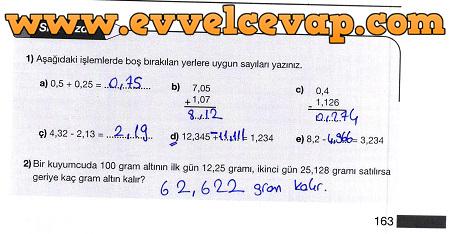 5 Sınıf Matematik Meb Yayınları Ders Kitabı Cevapları Sayfa 163
