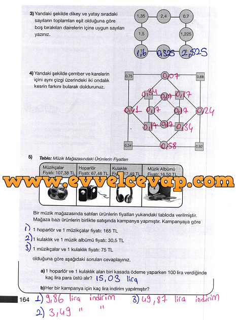 5 Sınıf Matematik Meb Yayınları Ders Kitabı Cevapları Sayfa 164