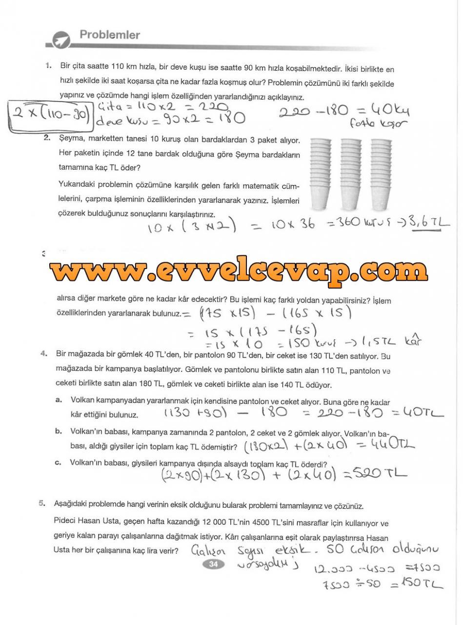 6 Sınıf Matematik Berkay Yayınları Ders Kitabı Cevapları Sayfa 34