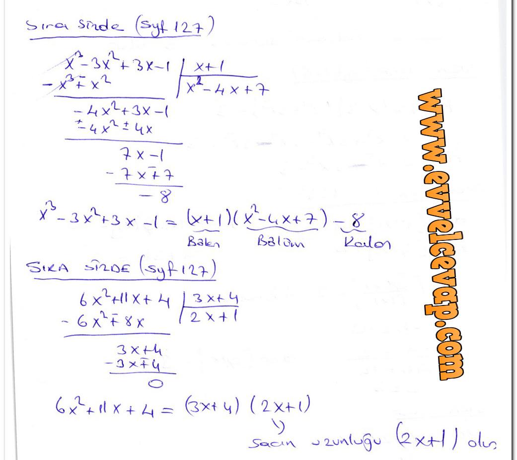 10 Sınıf Matematik Aydın Yayınları Ders Kitabı Cevapları Sayfa 127