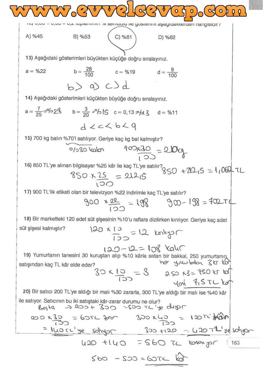 5 Sınıf Matematik Dikey Yayınları Ders Kitabı Cevapları Sayfa 163