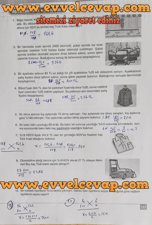 7. Sınıf Koza Yayınları Matematik Ders Kitabı Sayfa 157 Cevabı