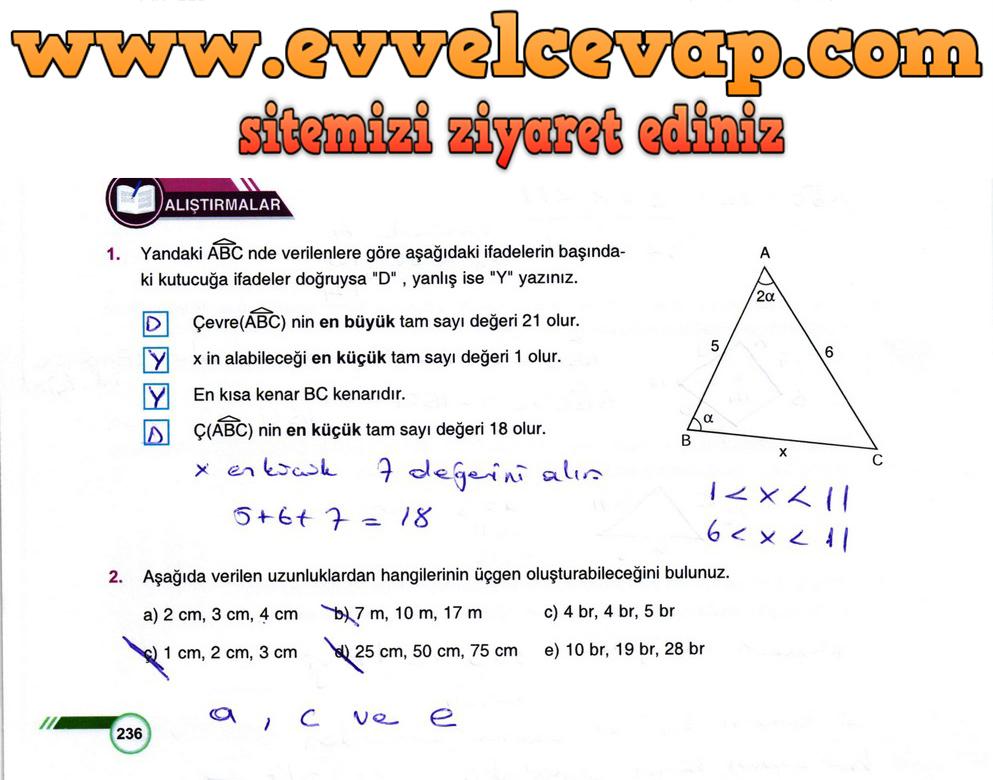 9. Sınıf Matematik Ders Kitabı Sayfa 236 Cevabı Ödev Yayınları