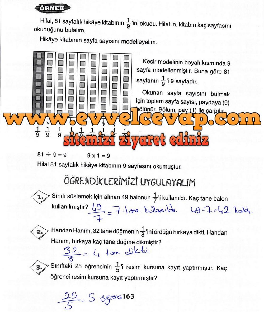 3 Sınıf Matematik Ada Yayınları Ders Kitabı Cevapları Sayfa 163