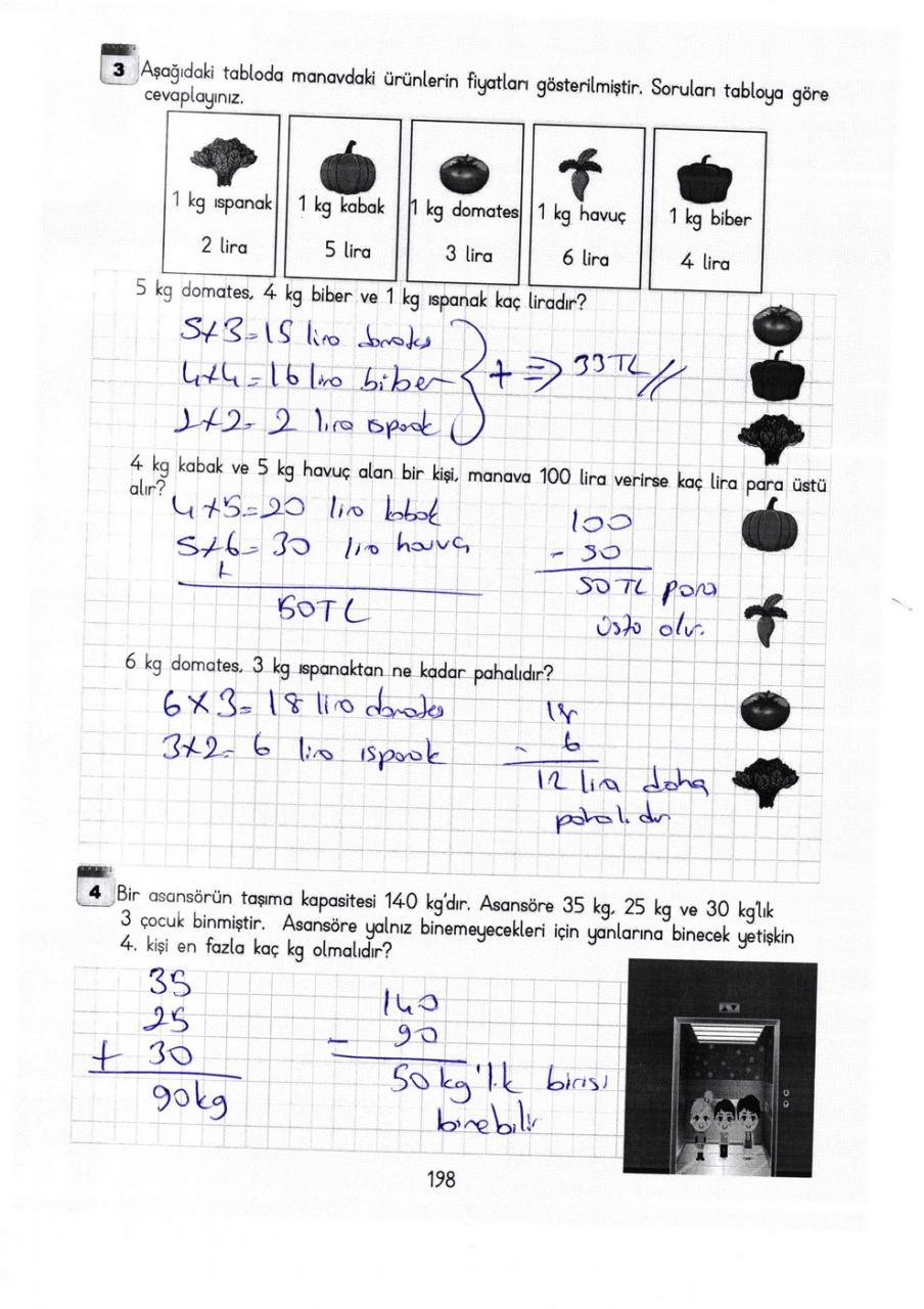 3 Sınıf Matematik Meb Yayınları Ders Kitabı Cevapları Sayfa 198