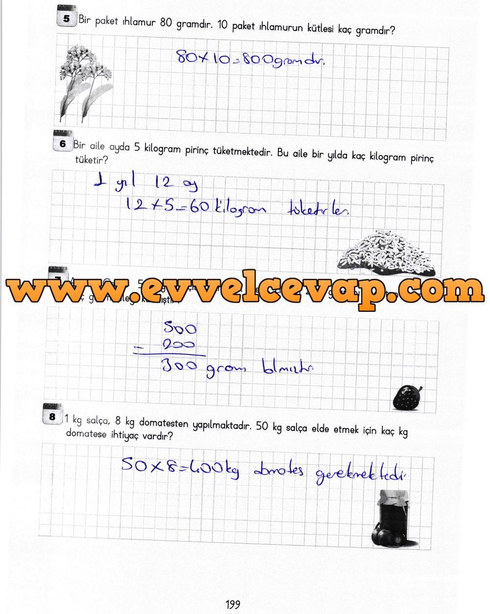 3 Sınıf Matematik Meb Yayınları Ders Kitabı Cevapları Sayfa 199