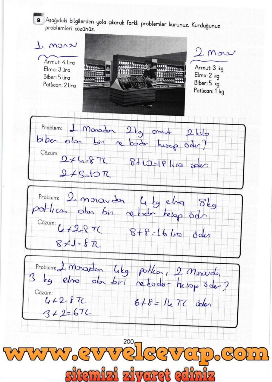 3 Sınıf Matematik Meb Yayınları Ders Kitabı Cevapları Sayfa 200