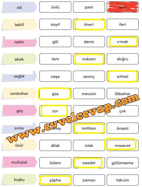 3. Sınıf Türkçe Ders Kitabı Meb Yayınları Sayfa 222 Cevabı