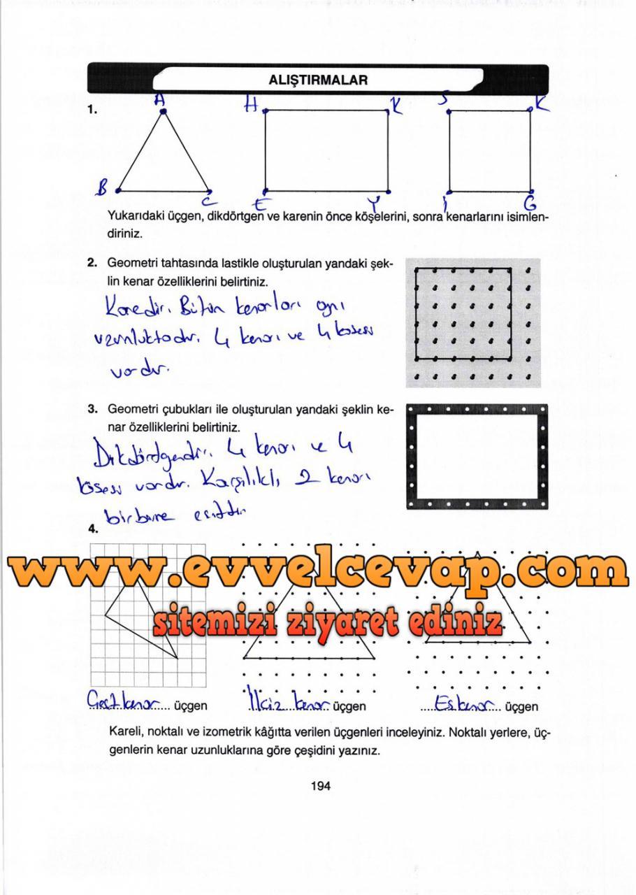 4 Sınıf Matematik Ata Yayınları Ders Kitabı Cevapları Sayfa 194