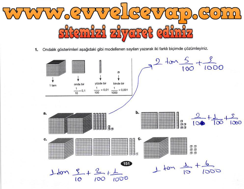 6. Sınıf Berkay Yayıncılık Matematik Ders Kitabı Sayfa 151 Cevabı