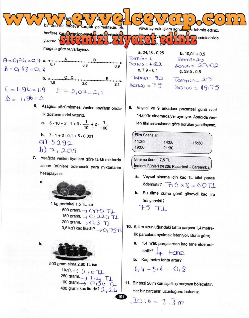 6 Sınıf Matematik Berkay Yayınları Ders Kitabı Cevapları Sayfa 191