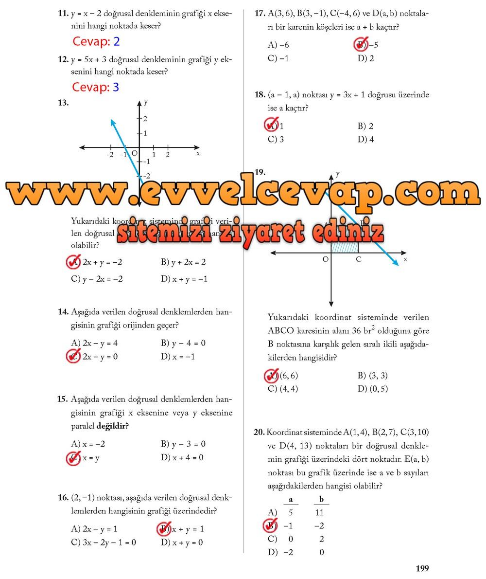 8 Sınıf Matematik Ekoyay Yayınları Ders Kitabı Cevapları Sayfa 199