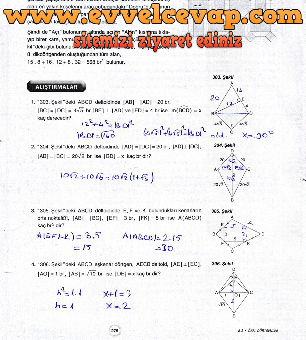 10. Sınıf Aydın Yayıncılık Matematik Ders Kitabı Sayfa 275 Cevabı