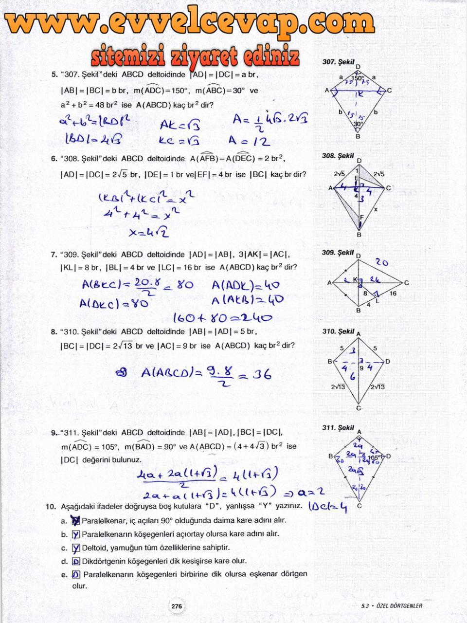 10. Sınıf Aydın Yayıncılık Matematik Ders Kitabı Sayfa 276 Cevabı