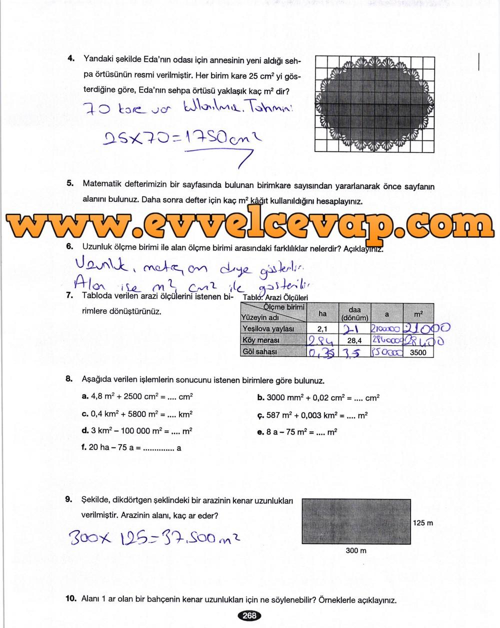 6. Sınıf Berkay Yayıncılık Matematik Ders Kitabı Sayfa 268 Cevabı