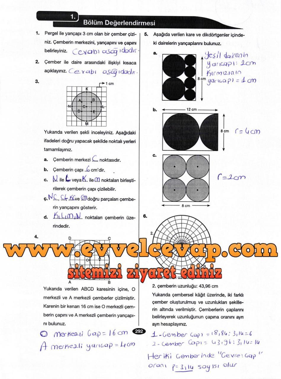 6. Sınıf Berkay Yayıncılık Matematik Ders Kitabı Sayfa 292 Cevabı