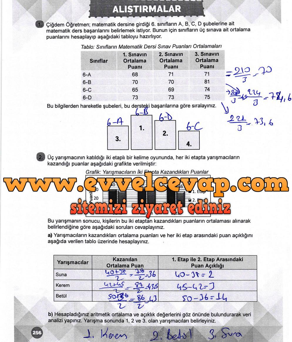 6. Sınıf Matematik Ders Kitabı Meb Yayınları Sayfa 256 Cevabı 2018-2019