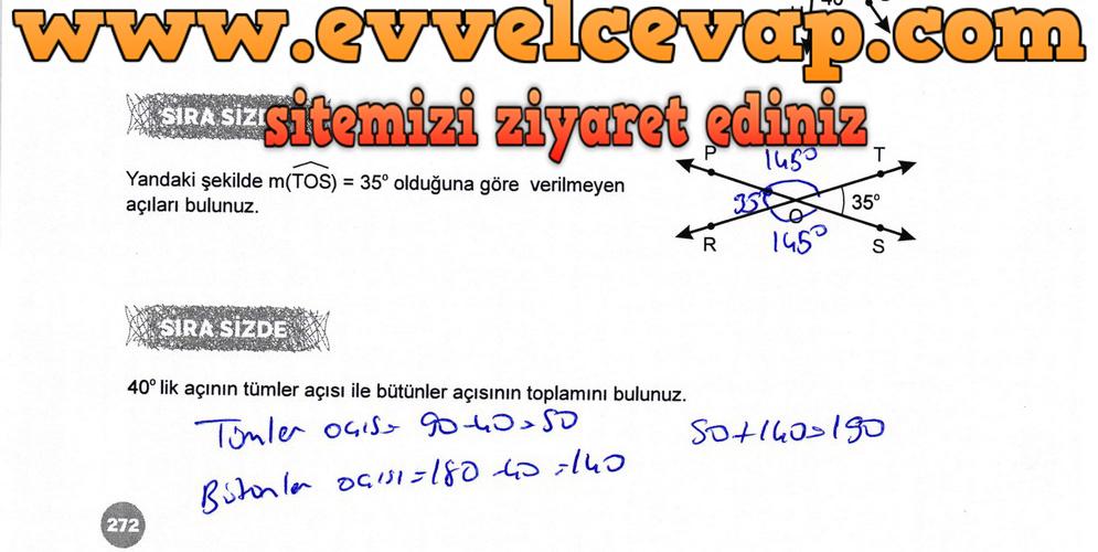 6. Sınıf Matematik Ders Kitabı Meb Yayınları Sayfa 272 Cevabı 2018-2019