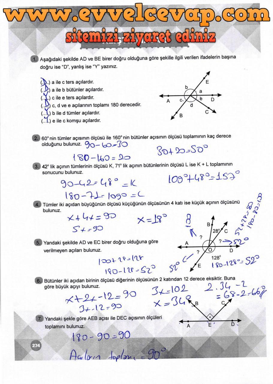 6. Sınıf Matematik Ders Kitabı Meb Yayınları Sayfa 274 Cevabı 2018-2019