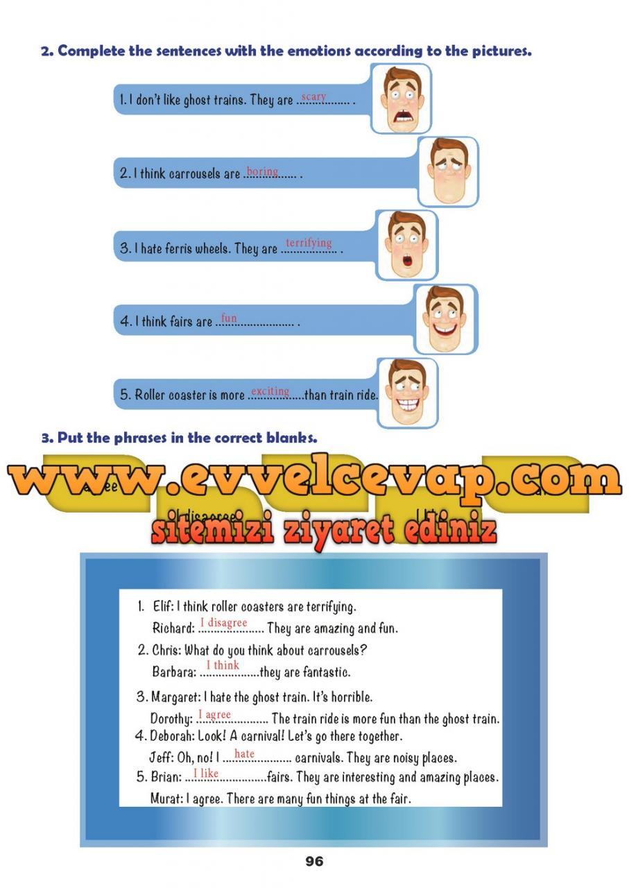 6 Sınıf Ingilizce Meb Yayınları Ders Kitabı Cevapları Sayfa 96