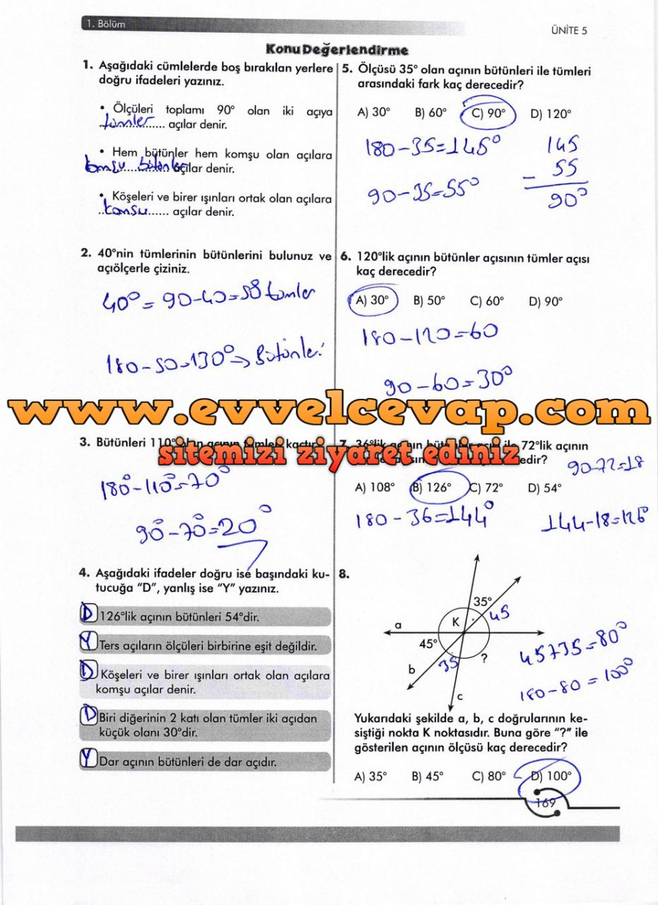 6. Sınıf Meb Yayınları Matematik Ders Kitabı Sayfa 169 Cevabı