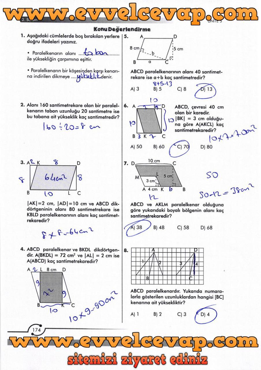 6. Sınıf Meb Yayınları Matematik Ders Kitabı Sayfa 174 Cevabı
