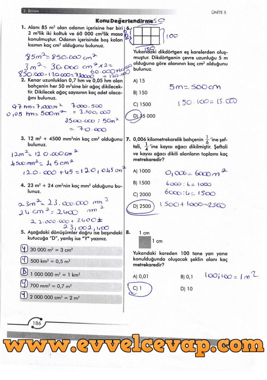 6. Sınıf Meb Yayınları Matematik Ders Kitabı Sayfa 186 Cevabı