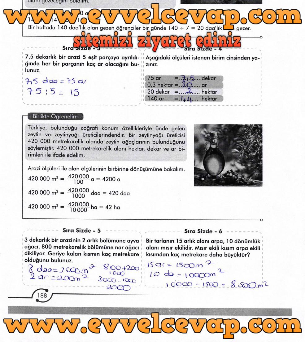 6. Sınıf Meb Yayınları Matematik Ders Kitabı Sayfa 188 Cevabı