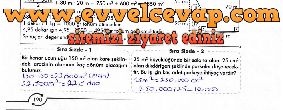6. Sınıf Meb Yayınları Matematik Ders Kitabı Sayfa 190 Cevabı