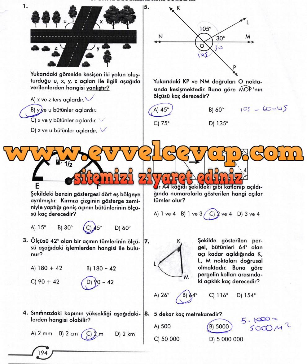 6. Sınıf Meb Yayınları Matematik Ders Kitabı Sayfa 194 Cevabı