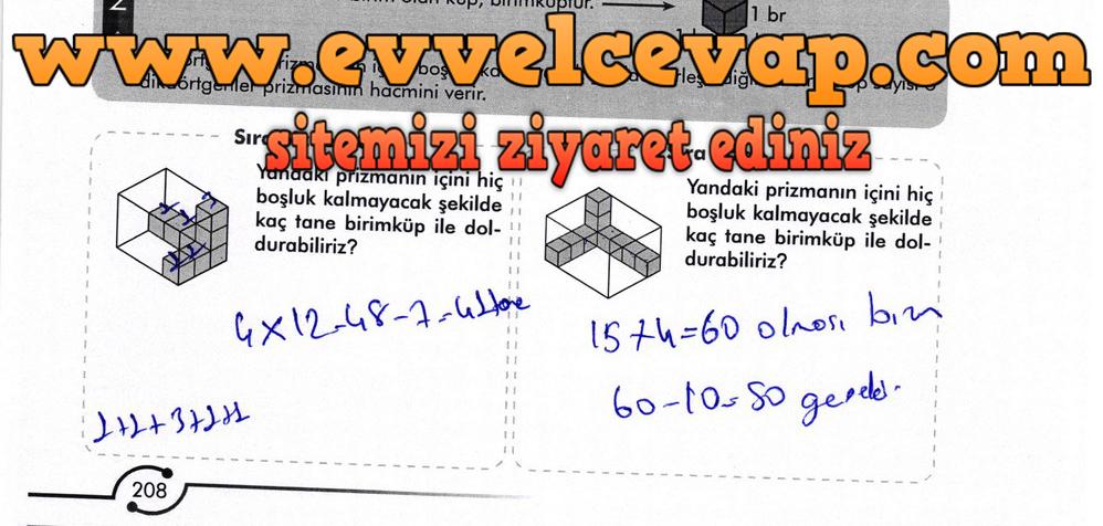 6. Sınıf Meb Yayınları Matematik Ders Kitabı Sayfa 208 Cevabı