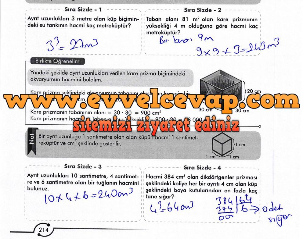 6. Sınıf Meb Yayınları Matematik Ders Kitabı Sayfa 214 Cevabı