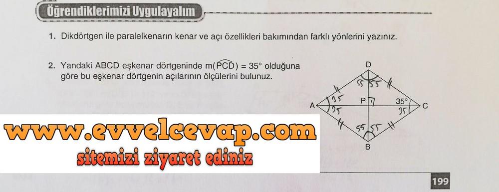 7. Sınıf Koza Yayınları Matematik Ders Kitabı Sayfa 199 Cevabı