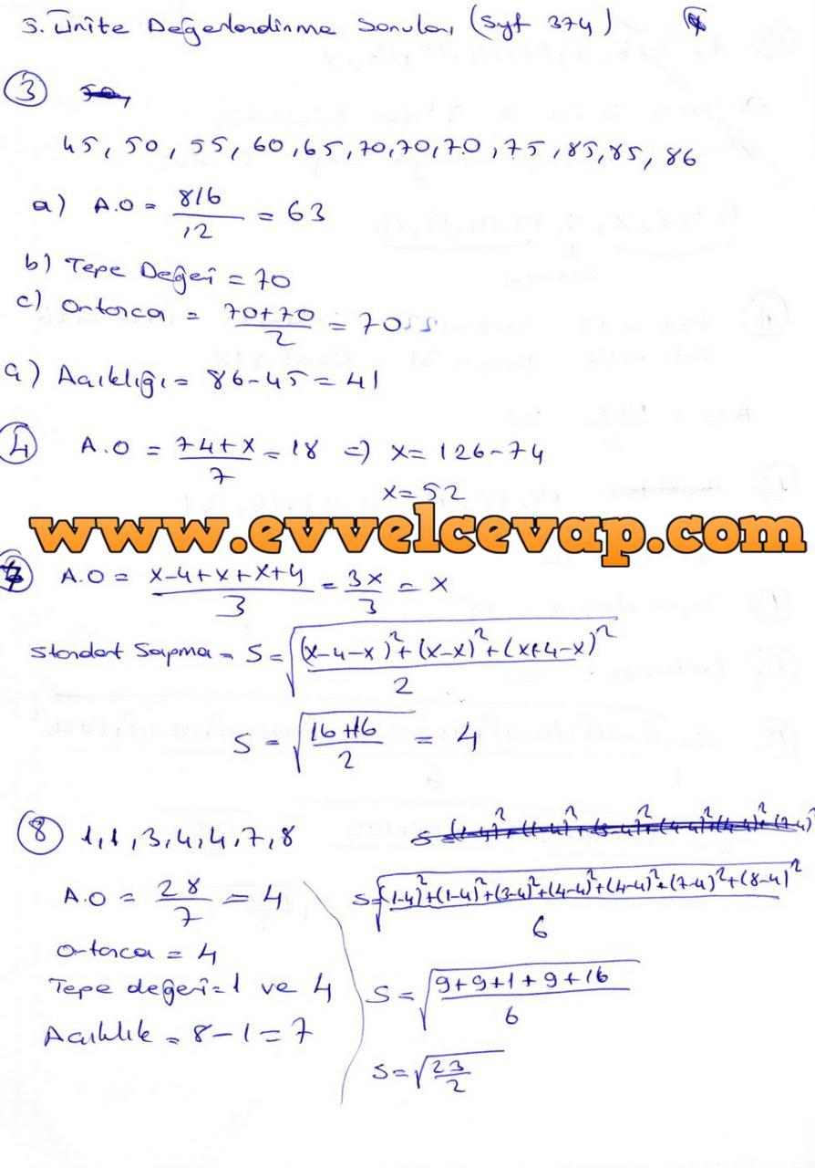 9. Sınıf Ödev Yayınları Matematik Ders Kitabı Sayfa 374