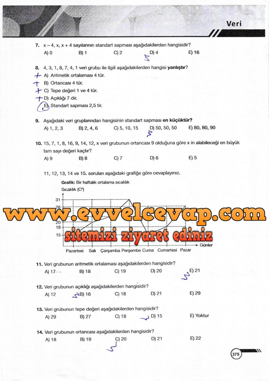 9. Sınıf Ödev Yayınları Matematik Ders Kitabı Sayfa 375 Cevabı