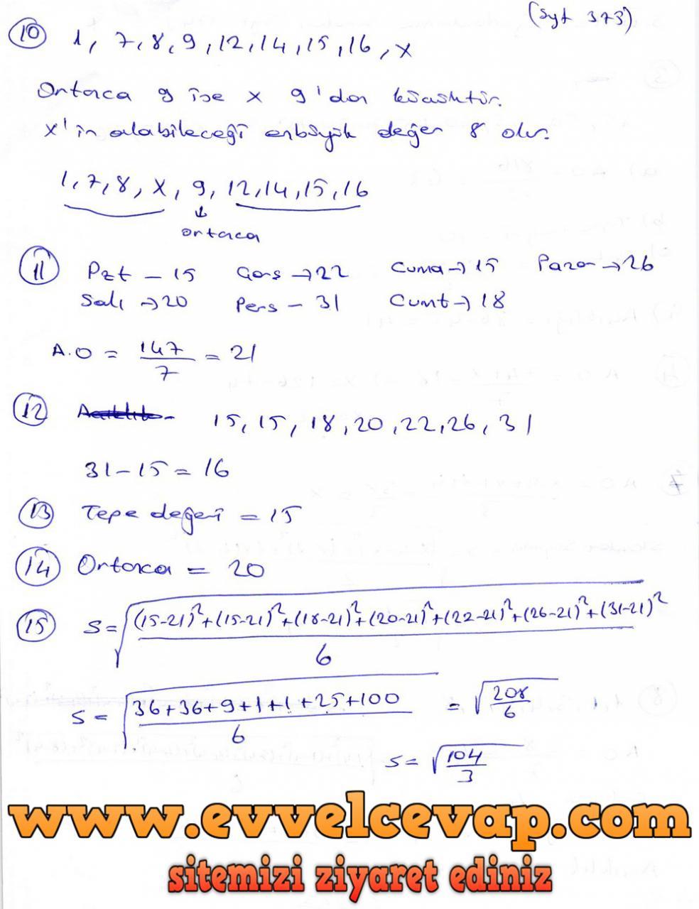 9. Sınıf Ödev Yayınları Matematik Ders Kitabı Sayfa 375