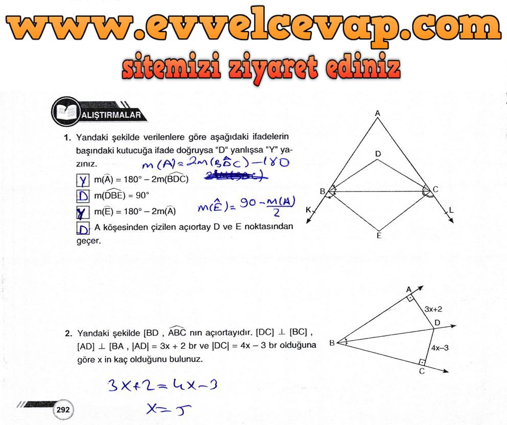 9. Sınıf Matematik Ders Kitabı Sayfa 292 Cevabı Ödev Yayınları