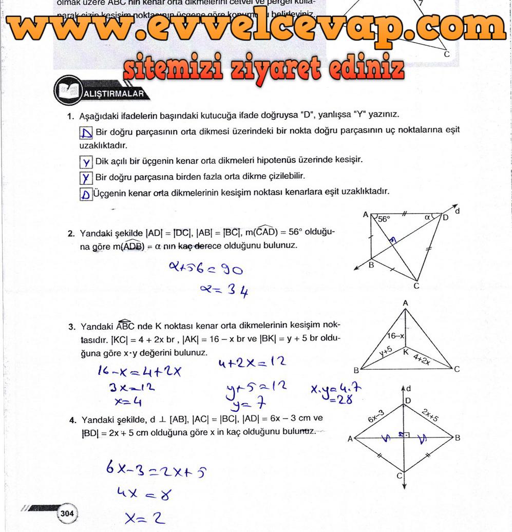 9. Sınıf Ödev Yayınları Matematik Ders Kitabı Sayfa 304 Cevabı
