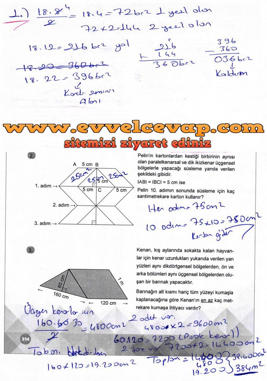 6. Sınıf Matematik Ders Kitabı Meb Yayınları Sayfa 314 Cevabı 2018-2019