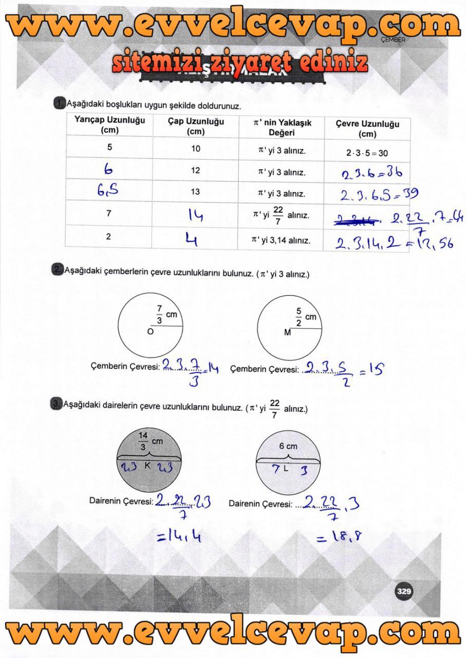 6. Sınıf Matematik Ders Kitabı Meb Yayınları Sayfa 329 Cevabı 2018-2019