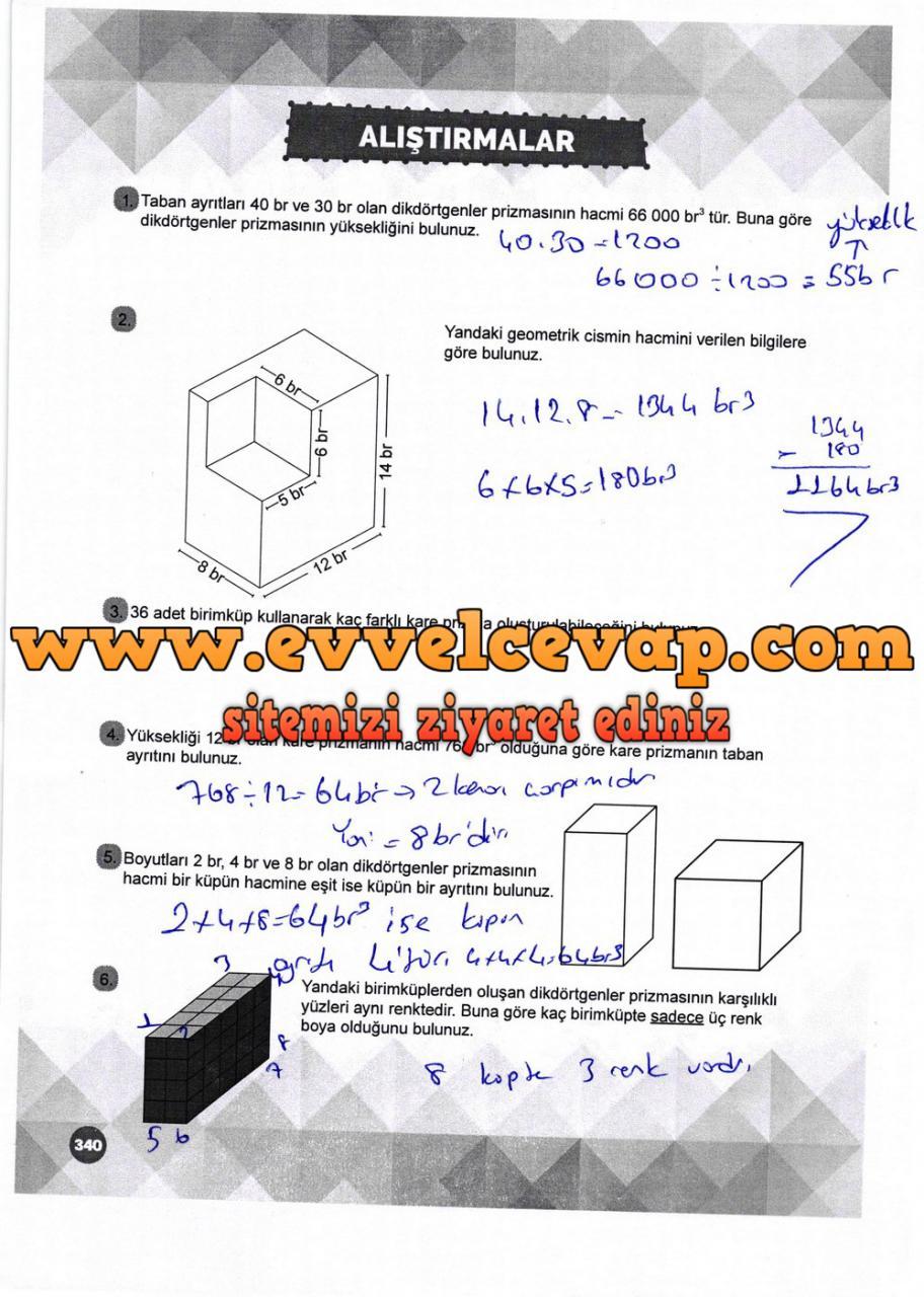 6. Sınıf Matematik Ders Kitabı Meb Yayınları Sayfa 340 Cevabı 2018-2019