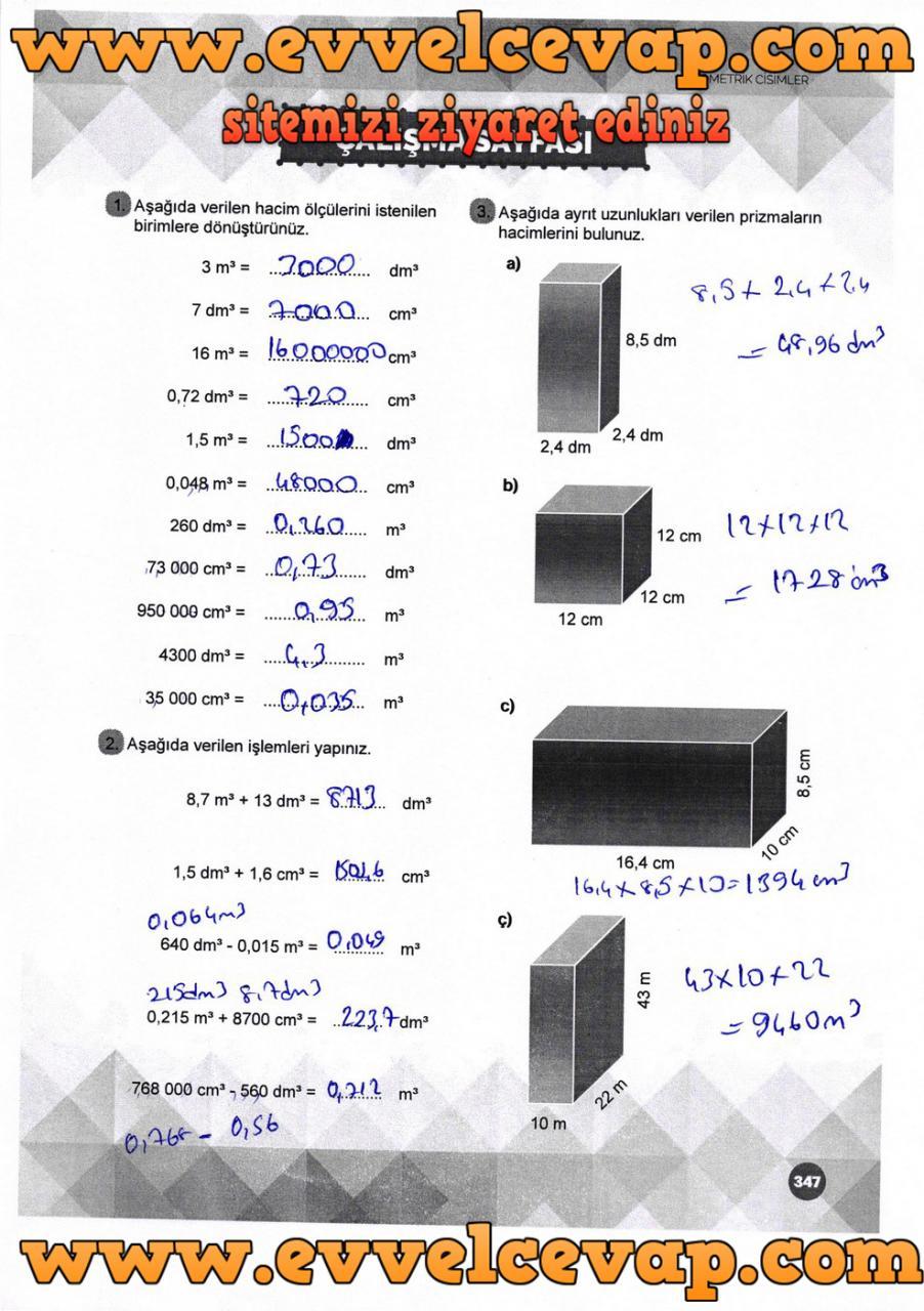 6. Sınıf Matematik Ders Kitabı Meb Yayınları Sayfa 347 Cevabı 2018-2019