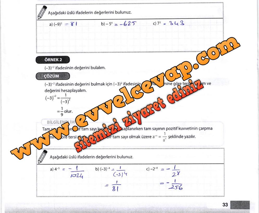 8. Sınıf Matematik Meb Yayınları Ders Kitabı Sayfa 33 Cevapları