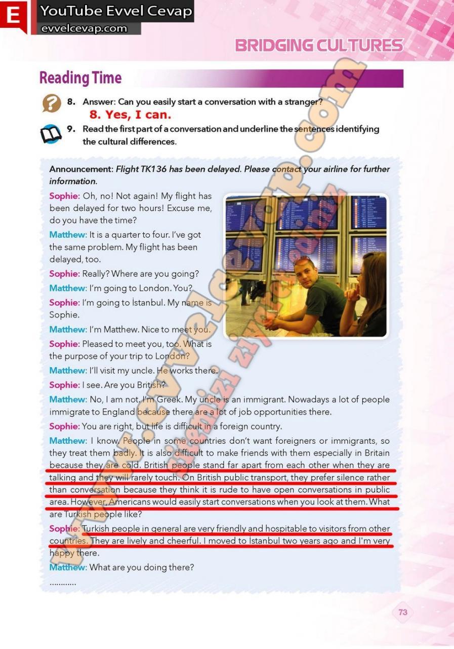 9. Sınıf İngilizce Pasifik Yayınları Ders Kitabı Cevapları Sayfa 73
