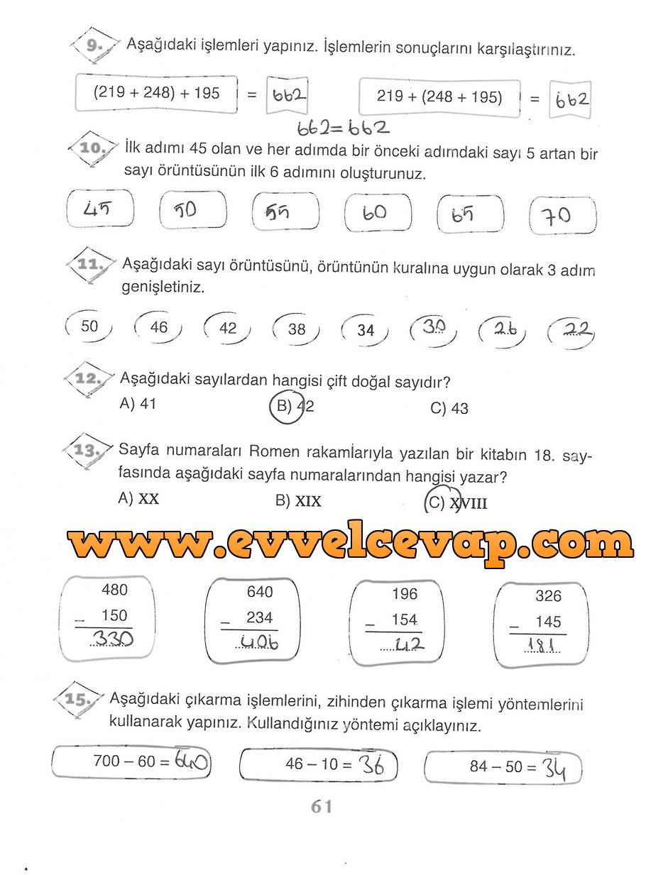 3 Sinif Matematik Ada Yayinlari Ders Kitabi Cevaplari Sayfa 61