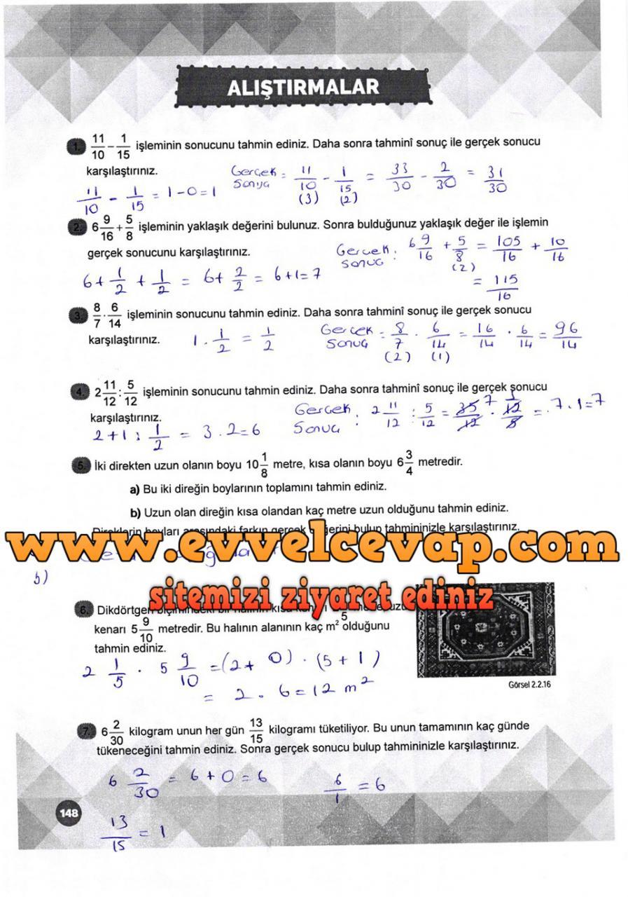 6 Sinif Matematik Meb Yayinlari Ders Kitabi Cevaplari Sayfa 148