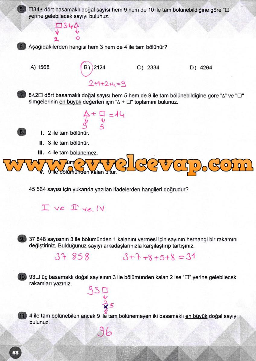 6 Sinif Matematik Meb Yayinlari Ders Kitabi Cevaplari Sayfa 58